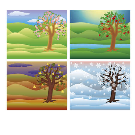 Set seasons tree vector illustration