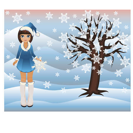 winter snow: Little winter girl and seasons tree, vector illustration