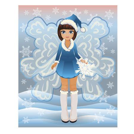 winter girl: Winter little fairy girl, vector illustration