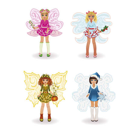 spring summer: Seasons fairy girls, isolated. vector illustration Illustration