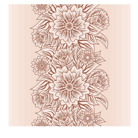 Jahrgang nahtlose vertikale Blumenmuster, Vektor-Illustration