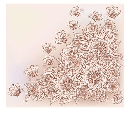 pattern antique: Vintage floral card with butterfly, vector illustration Illustration
