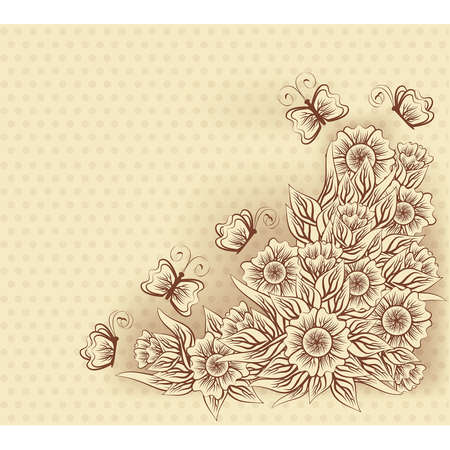 Vintage greeting card with flowers and butterfly, vector illustration