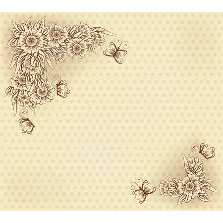 Uitstekende uitnodigingskaart met bloemen en vlinder, vectorillustratie