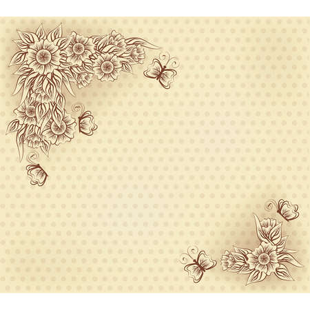 scrapping: Vintage invitation card with flowers and butterfly, vector illustration Illustration