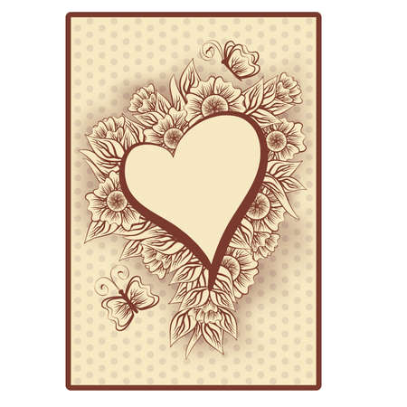 tarot: Heart poker vintage playing card, illustration