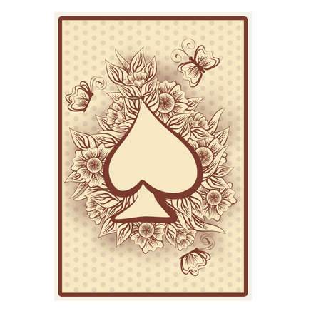 pattern antique: Spade poker vintage playing card, illustration
