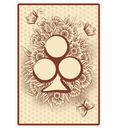 Club poker vintage playing card, illustration Vektorové ilustrace