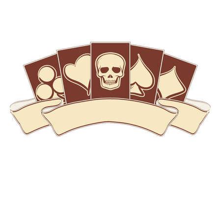 Vintage casino banner met poker elementen, afbeelding