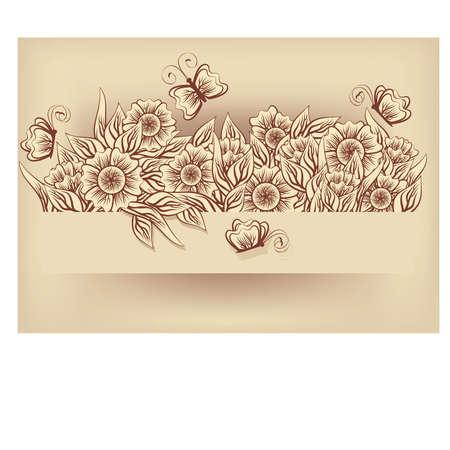 design frame: Vintage flower card, illustration Illustration