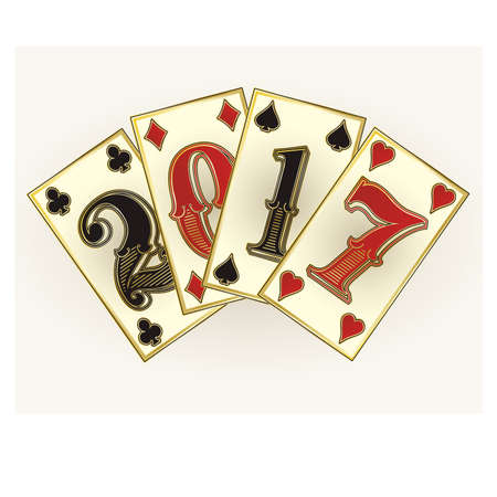 New 2017 year casino poker cards, illustration
