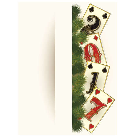 holiday invitation: New 2017 year casino with poker cards, illustration