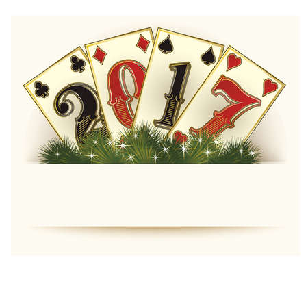 New 2017 year casino background poker cards, illustration Illustration