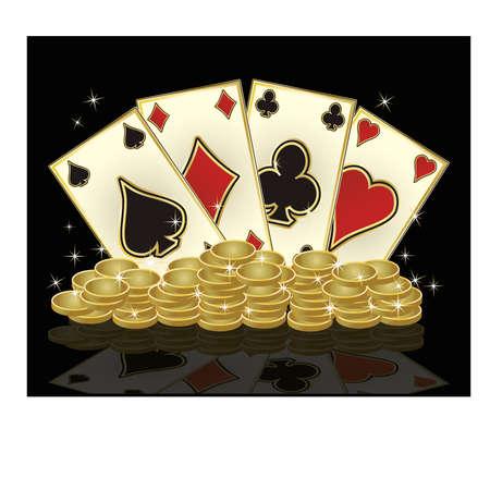 golden coins: Poker cards and golden coins, vector illustration