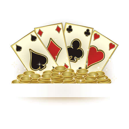 Casino poker cards and golden coins, vector illustration Illustration