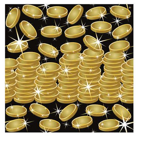 Modèle sans couture avec pièces d'or et étoiles, illustration vectorielle