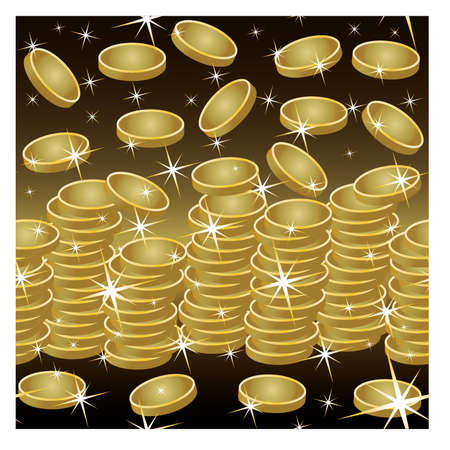golden coins: Seamless pattern golden coins, vector illustration