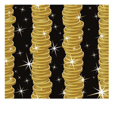 golden coins: Seamless golden coins background, vector illustration Illustration