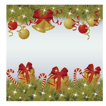 Nieuwjaar en vrolijk kerstgroet achtergrond, vectorillustratie