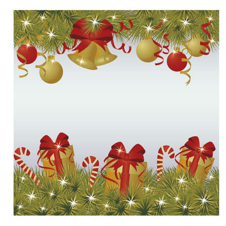 New Year and Merry Christmas greeting background, vector illustration