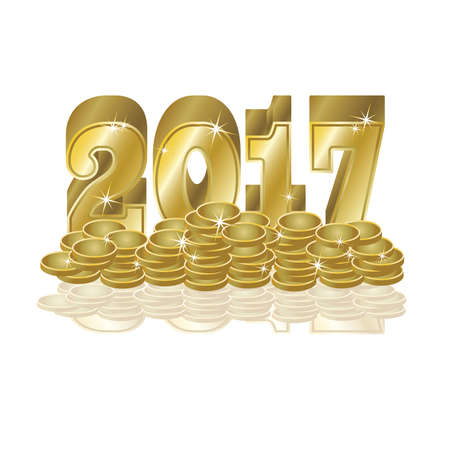Golden coins New 2017 year background Illustration