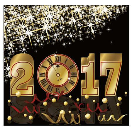 Golden 2017 Nieuw jaar uitnodiging wallpaper
