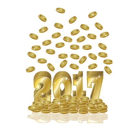date night: Golden coins new year 2017 card