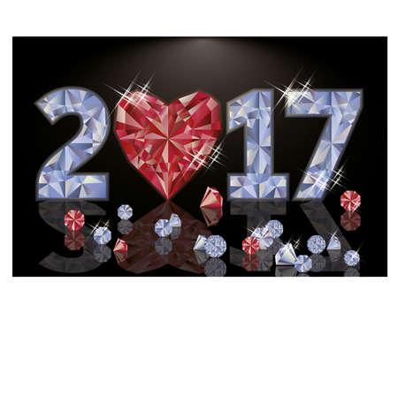 diamond heart: Ruby and diamond heart new year 2017, vector illustration Illustration