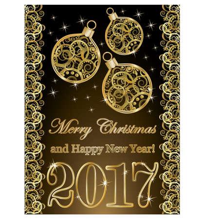 Gouden nieuw jaar 2017 behang met Kerstmisballen, vectorillustratie Stock Illustratie