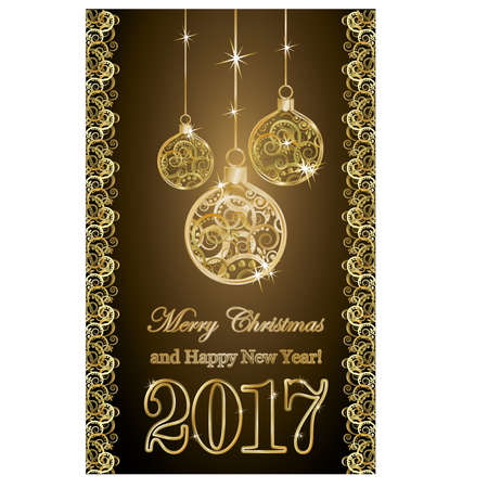 scrapping: Golden new year 2017 banner with xmas balls, vector illustration
