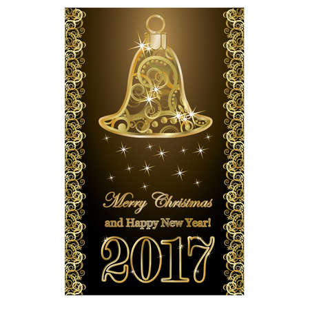 Golden 2017 new year greeting card, vector illustration