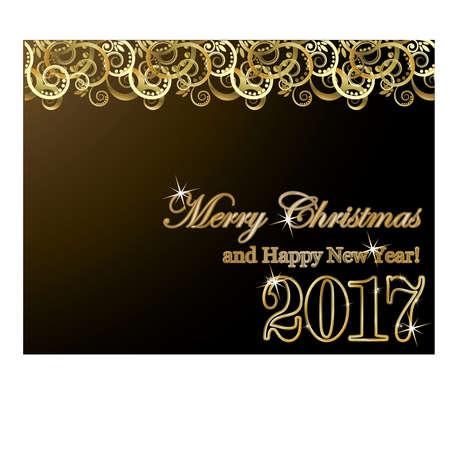 Gelukkige nieuwe jaar 2017 gouden kaart, vectorillustratie