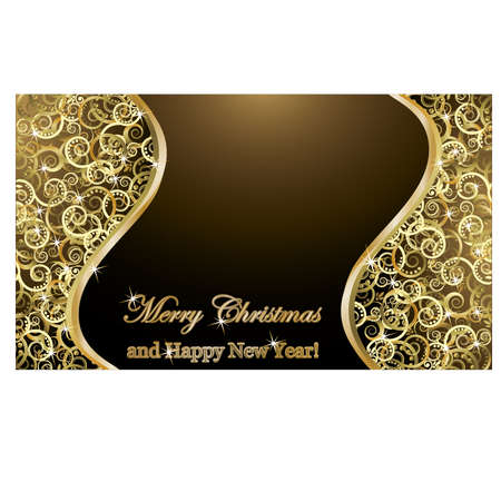 scraps: Merry Christmas and happy new year golden background, vector illustration