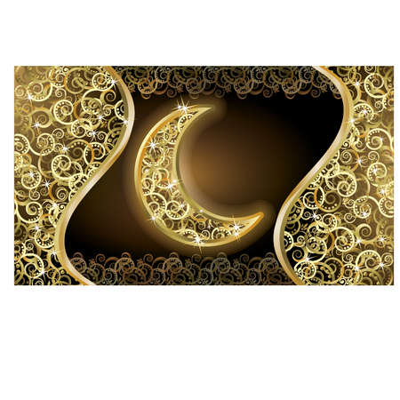 Card with golden holidays moon, vector illustration