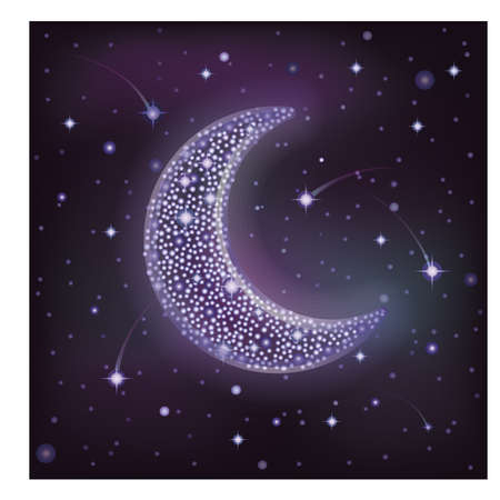 noche y luna: Luna estrellada en el cielo nocturno, ilustración vectorial