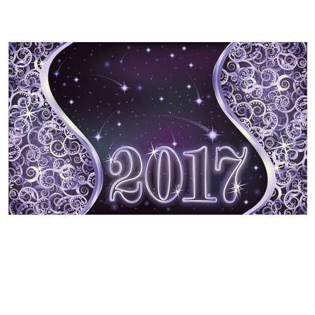 Gelukkig nieuwjaar 2017 zilveren achtergrond, vectorillustratie Stock Illustratie