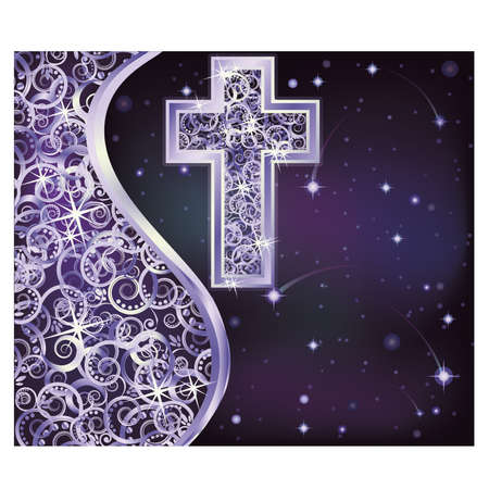 Holidays card with silver cross, vector illustration
