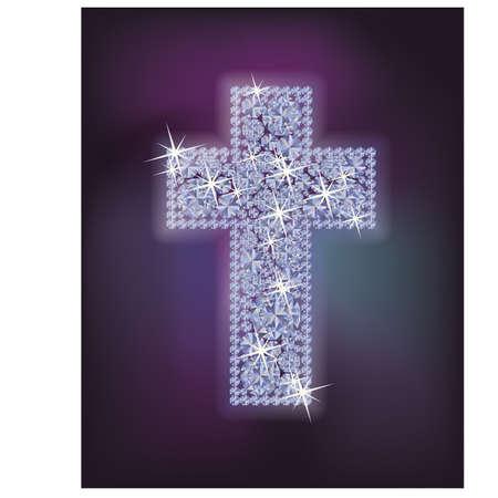 Diamond holidays cross card, vector illustration