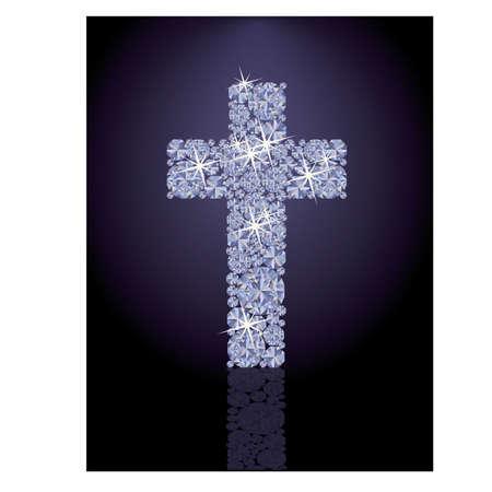 Precious Diamond cross, vector illustration