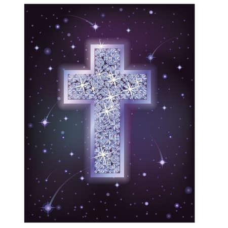 crosscountry: Brilliant cross in starry night sky, holiday background, vector illustration Illustration