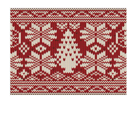 Merry Christmas card knitted seamless, vector illustration