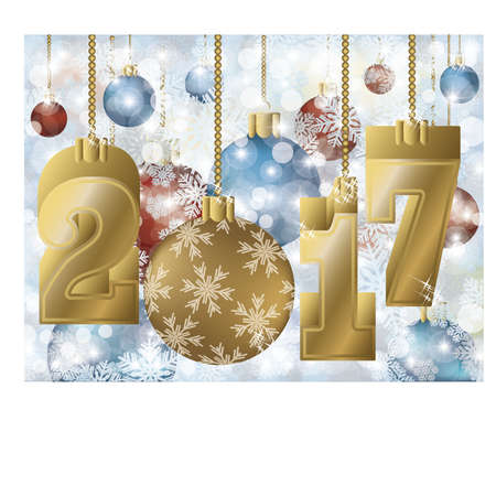 the inscription: Happy new year 2017 golden greeting card, vector illustration