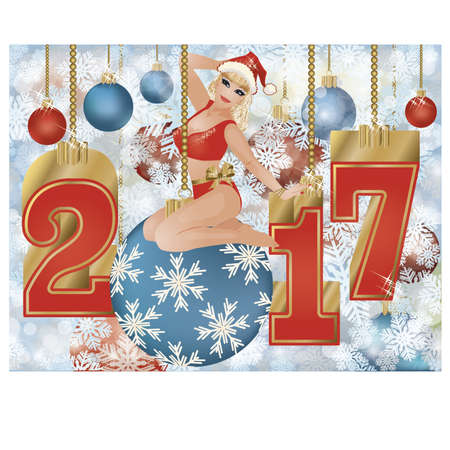 snow maiden: Happy new year 2017 card with pinup girl, vector illustration