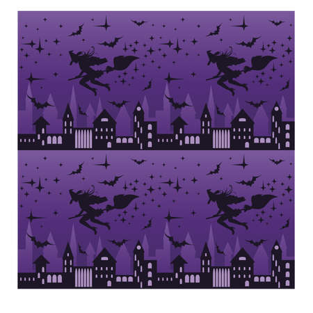 flying witch: Night city with flying witch silhouette, seamless pattern, vector illustration Illustration