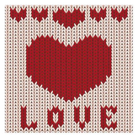 Liefde gebreid hart, St Valentijnsdag kaart, vectorillustratie