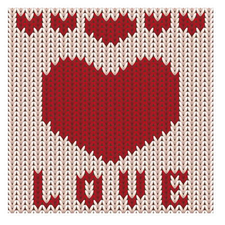 scrapping: Love knitted heart, St Valentines day card, vector illustration Illustration