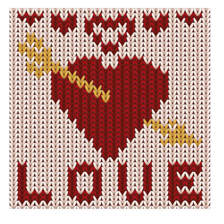 Amazing knitted love heart. Knitting texture. vector illustration