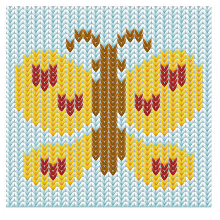 cotton fabric: Knitted butterfly vector illustration