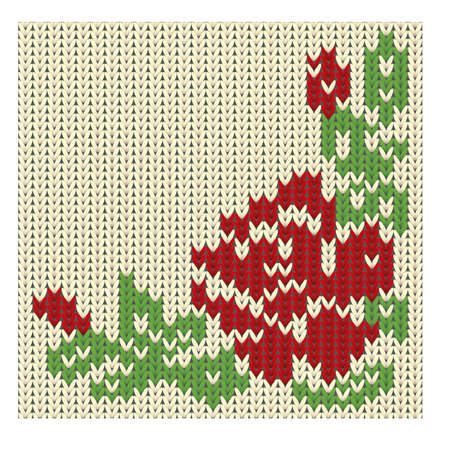 cotton fabric: Knitted rose flower, vector illustration