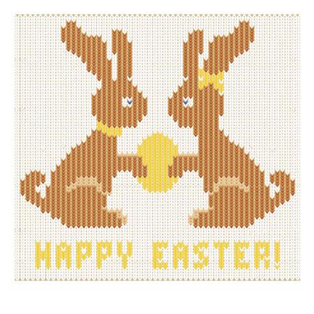 patten: Happy Easter knitted bunny , vector illustration Illustration